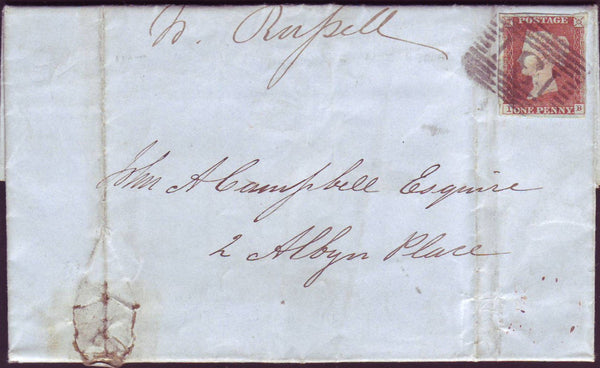87801 - 1846 1D PL.69 (IB)(SG8) ON COVER. 1847 wrapper (fa...