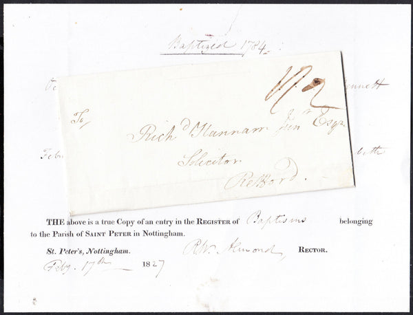 87835 - NOTTS. 1827 copy of an entry in the Register of Ba...