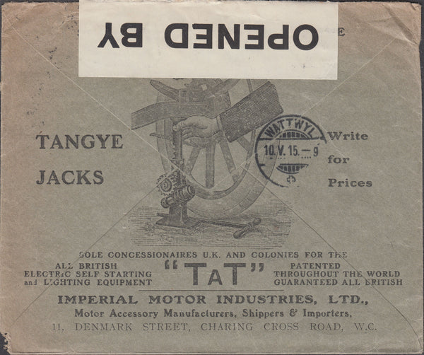 87916 - 1915 ADVERTISING. Envelope London to Zurich with K...
