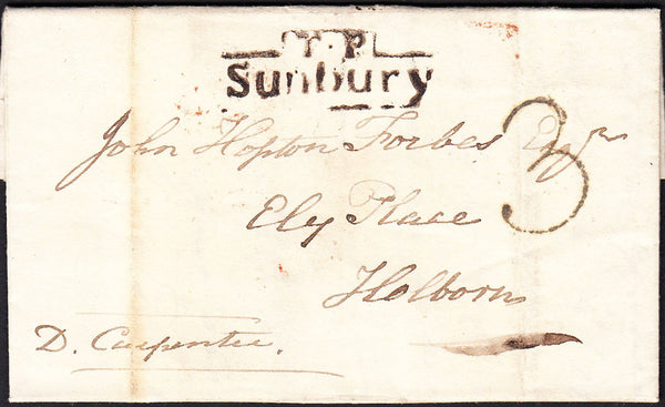 87932 - 1833 MIDDLESEX/'T.P. SUNBURY' HAND STAMP. Entire Sunbury to Holborn dated 21...