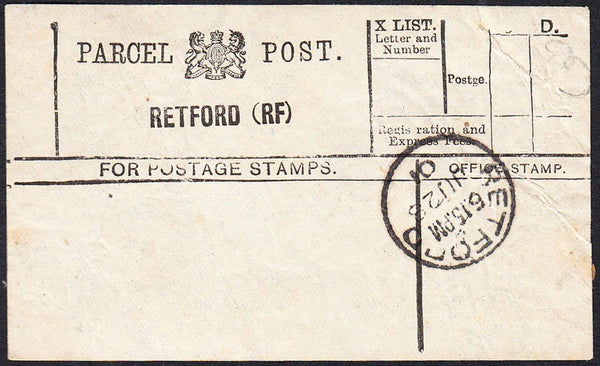 87954 - PARCEL POST LABEL/NOTTS. 1901 label RETFORD (RF) w...