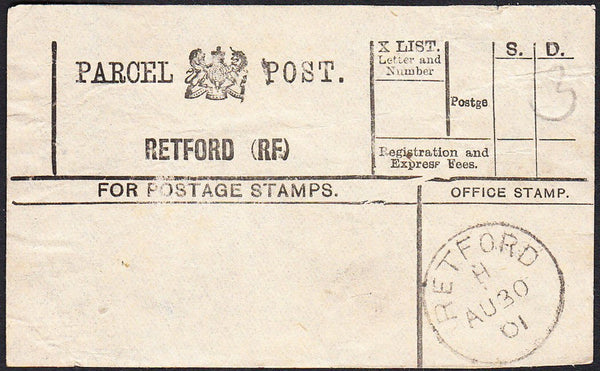 87956 - PARCEL POST LABEL/NOTTS. 1901 label RETFORD (RF) w...