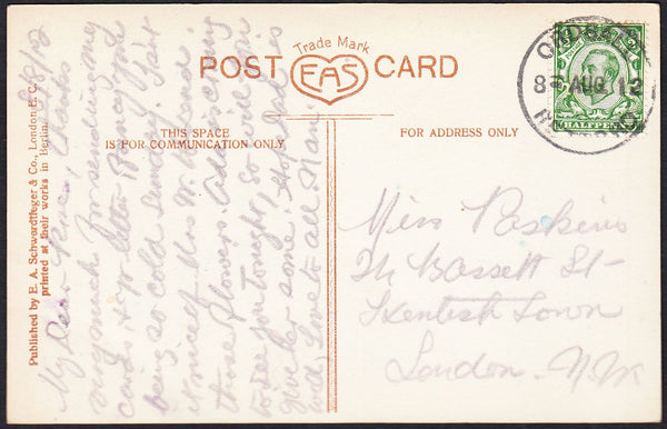 87991 - NOTTS. 1912 postcard to London with KGV ½d Downey ...