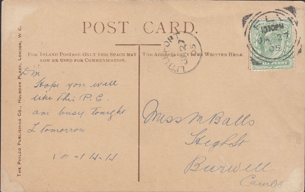 88002 - CAMBS. 1905 glamour postcard Ely to Burwell with K...