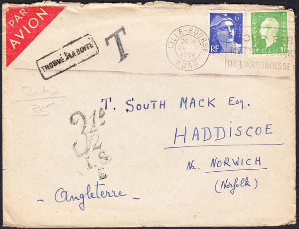 88021 - 1948 UNDERPAID MAIL FRANCE TO THE UK. Envelope Fra...