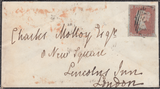 88067 - BRISTOL/1850 BERKELEY-PLACE RECEIVER'S HANDSTAMP.  1850 mourning envelope Bristol to London...