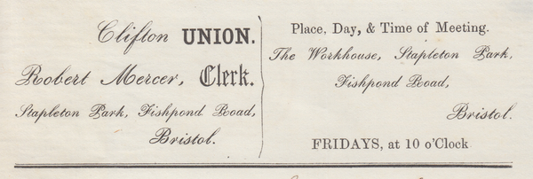 "88101 - BRISTOL STAPLETON-ROAD UDC. 1853 letter from the ""Clifton Union, The ..."