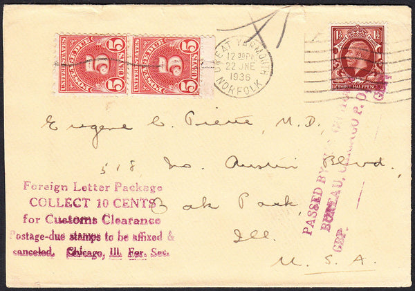 88114 - 1936 UNDERPAID MAIL GREAT YARMOUTH TO USA. Envelope Great Yarmouth to Il...
