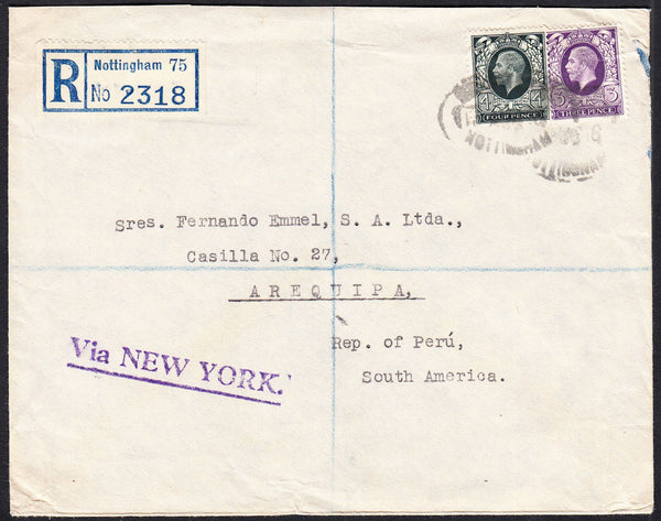 88124 - 1936 MAIL TO PERU. Envelope sent registered Nottin...