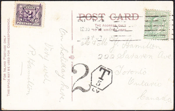 88160 - 1907 UNDERPAID MAIL ABERDEEN TO CANADA. Post card Aberdeen t...
