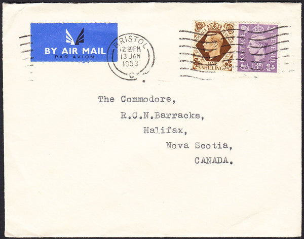 88161 - 1953 envelope Bristol to Halifax, Nova Scotia with...