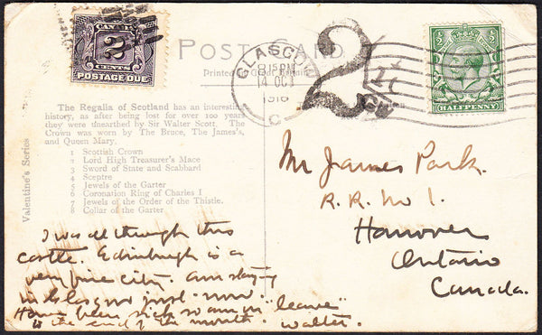 88162 - 1916 UNDERPAID MAIL GLASGOW TO CANADA. 1916 post card Glasgow to Ontario, Canada (corner b...