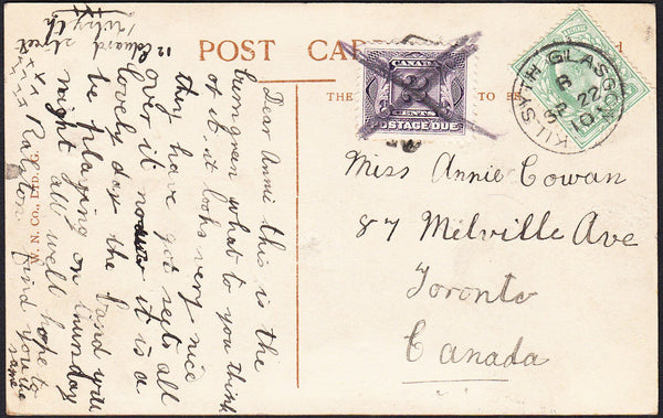 88163 - 1910 UNDERPAID MAIL GLASGOW TO CANADA. Post card Glasgow to...