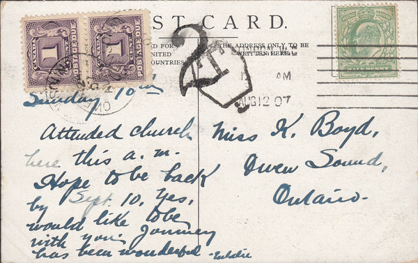 88164 - 1907 UNDERPAID MAIL LONDON TO CANADA. Post card London to ...