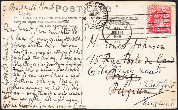 88166 - 1907 MAIL LEEDS TO BELGIUM RE-DIRECTED TO BEDFORD. Post card Leeds to Belgium with KEDVII 1d canc...