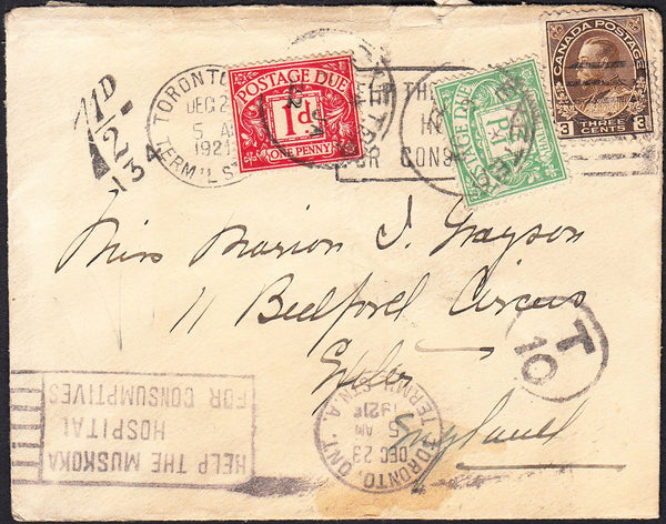 88183 - 1921 UNDERPAID MAIL TORONTO TO EXETER. 1921 envelope Toronto, Canada to Exeter with Canad...