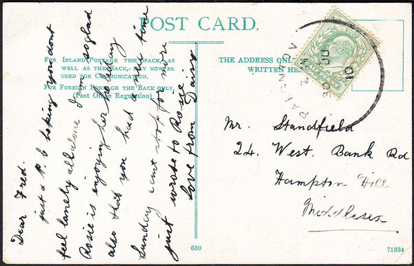 88185 - DEVON. 1910 postcard Paignton to Middlesex with KE...
