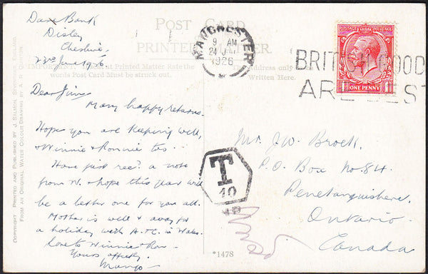 88223 - 1926 UNDERPAID MAIL MANCHESTER TO CANADA. 1926 post card Manchester to Ontario, Canada with K...