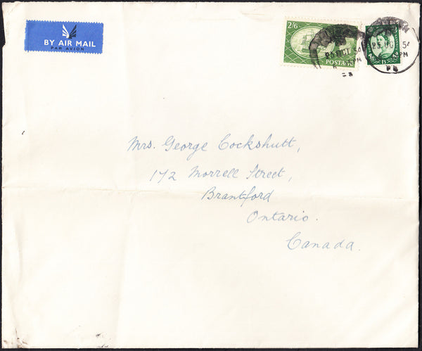 88224 - 1954 MAIL LONDON TO CANADA/2/6D YELLOW-GREEN (SG509). Large envelope (228x190mm) with KGVI 2/6d yel...