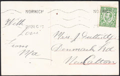 88229 - 1912 NORFOLK/CHRISTMAS DAY USAGE. Post card Norwich to New Cal...