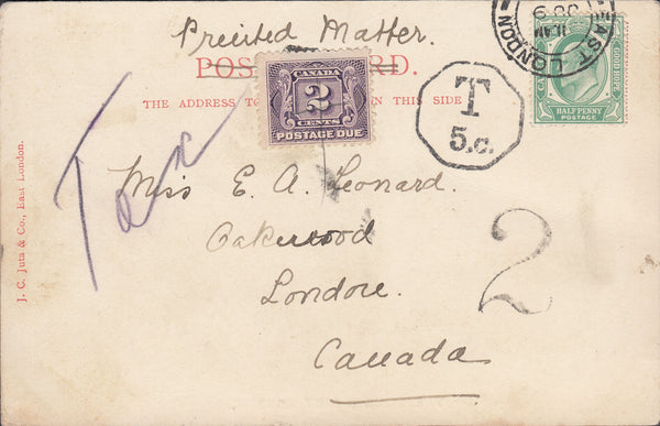 88338 - 1906 UNDERPAID MAIL SOUTH AFRICA TO CANADA. Pos tca...