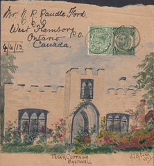 88461 - 1913 HAND-PAINTED NEWSPAPER WRAPPER/KENT TO CANADA. Fine large pa...