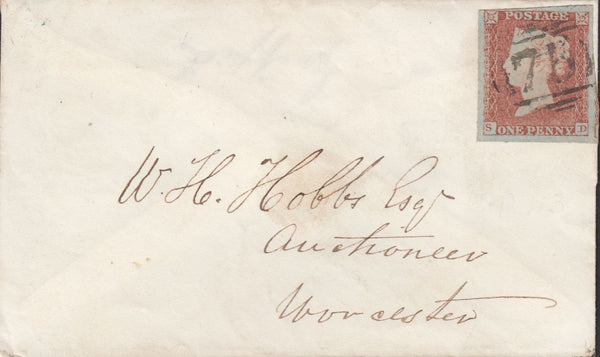 88780 - PL.113 (SD) (SG8) ON COVER. 1851 envelope Birmingham to Wor...