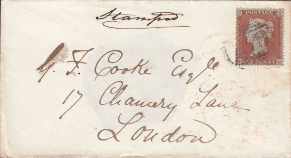 88866 - PL.188 (BG)(SG17) ON COVER. 1855 envelope Bromyard (Worcs)...