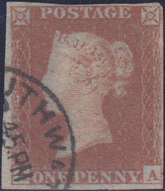 88872 - PL.172 (AA)(SG8)/MISSING IMPRIMATUR LETTERING. Very fine used 1853 1d pl.172 l...