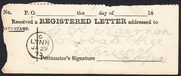 88904 - 1875 REGISTERED RECEIPT/NORFOLK. Fine registered r...