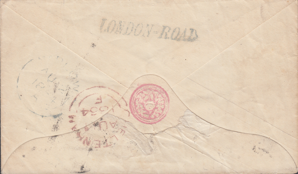 88936 - 1854 GLOS/CHELTENHAM 'LONDON-ROAD' HAND STAMP. 1854 1d pink envelope Cheltenham to Great Ma...