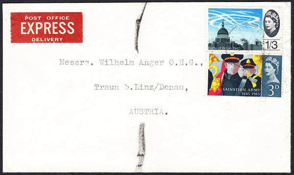 88949 - 1965? envelope sent Express mail UK to Austria wit...