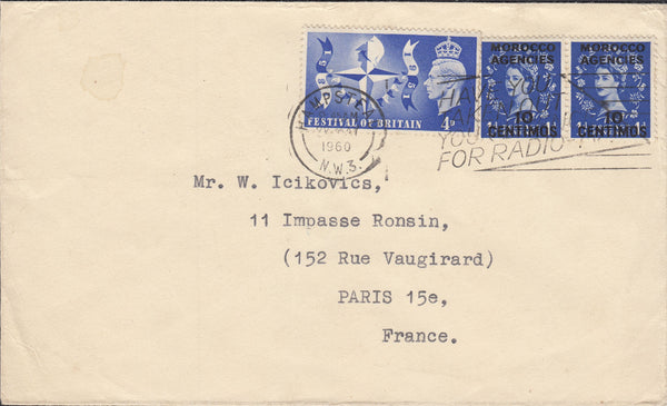 88954 - 1960 MIXED REIGNS MAIL HAMPSTEAD TO PARIS. Envelope Hampstead to Paris with KGVI 4d Fest...