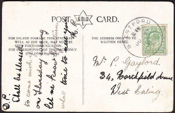 88973 - 1911 MAIL TO WEST EALING WITH 'BRENTFORD' SKELETON DATE STAMP.