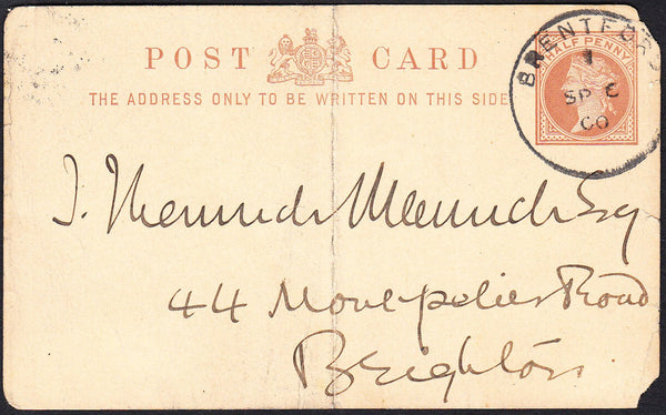 88975 - MIDDX. 1900 ½d brown postcard (creased and corner ...