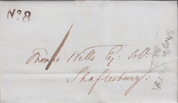 88978 - 1839 DORSET PENNY POST. 1839 entire Hentsridge to Shaftesbury date...