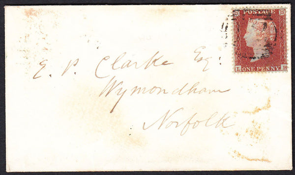 89066 - PL.180 (LH)(SG17) ON COVER. 1854 wrapper to Wymondham with...