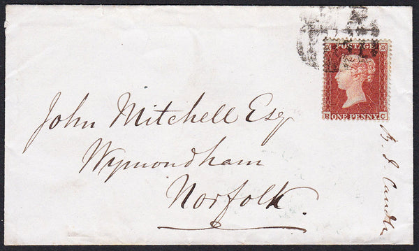 89068 - PL.196 (RC)(SG17) ON COVER. 1855 envelope Wakefield to Wym...