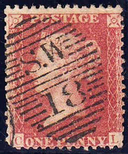 89121 - PL.64 (CL) (SG40). Good used 1861 die II 1d pl.64 ...