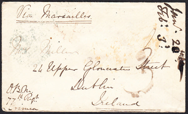 89304 - CRIMEAN WAR/IRELAND. 1855 envelope from the Crimea...