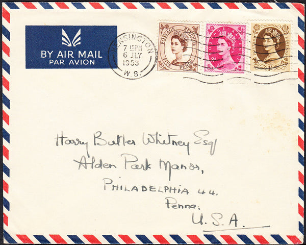 89501 - 1953 envelope Kensington to Philadelphia, USA with...