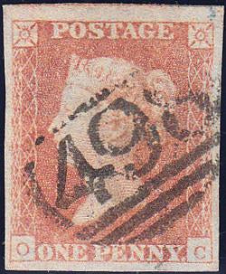 89524 - PL.95 (OC) (SG8). Good used 1850 1d pl.95 lettered...