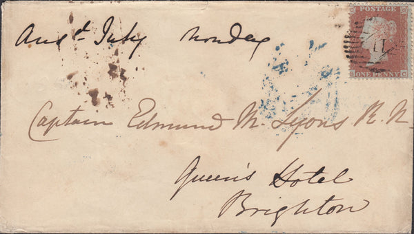 89535 - 1D ARCHER EXPERIMENTAL PERFORATION PL.101 (SG16b)(BC) ON COVER JULY 1851 LONDON TO BRIGHTON.