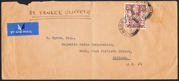 89622 - 1939 MAIL LONDON TO USA. Large envelope (228x103) London to Chicago (faults) with KGVI...