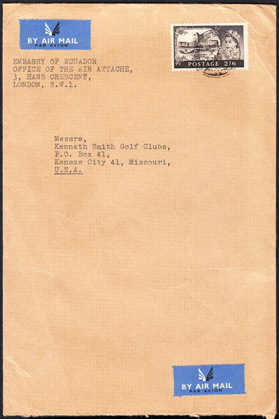 89626 - 1961 MAIL LONDON TO USA 2/6D CASTLE ISSUE. Large envelope (152x229) London to Missouri, USA with 2/6d Ca...