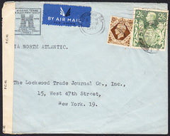 89635 - 1944 envelope London to New York with KGVI 2/6 yel...