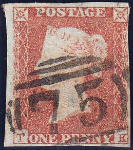 89654 - PL.113 (TK)(SG8). Good used 1851 1d pl.113 (SG8) lettered TK