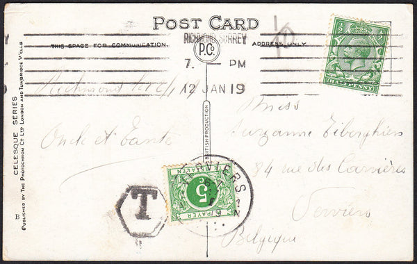 89667 - 1919 UNDERPAID MAIL RICHMOND, SURREY TO BELGIUM. Post card London to...
