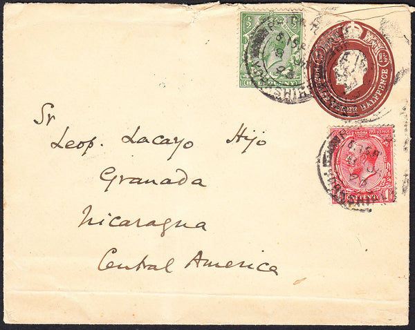 89674 - 1923 MAIL TO NICARAGUA. Envelope with KGV 1½d embo...