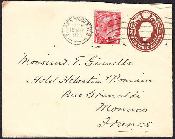 89677 - 1929 MAIL TO MONACO. Envelope with KGV 1½d embosse...